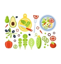 Salad Preparation Set Of Ingredients vector image