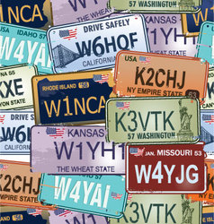 Seamless background - retro auto license plates vector