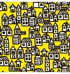 Seamless pattern in doodle style with black line vector image