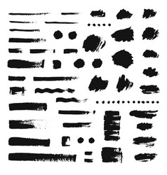 set different hand drawn brush strokes vector image