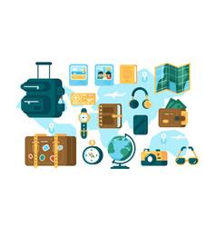 set different tourist supplies vector image