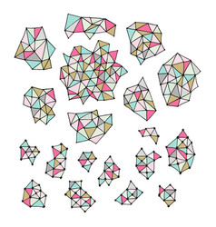 set hand drawn polygon triangles pastel vector image