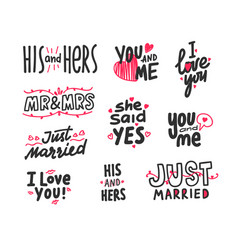 set hand written lettering for valentines card vector image
