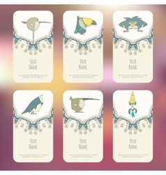 Set of Business cards with hand drawn birds vector image