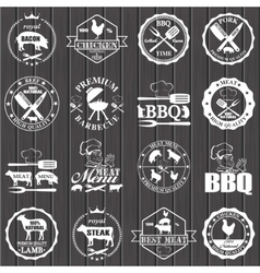 Set of butcher shop labels vector