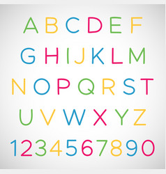 set of latin alphabet letters and numbers vector image