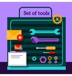 Set of Tools for Seo Flat Design vector