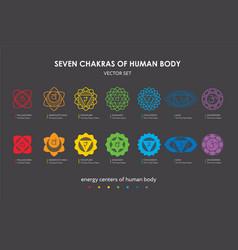 seven chakras human body set vector image