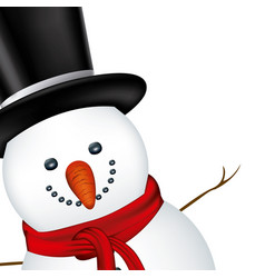 Snowman face with black hat and scarf vector