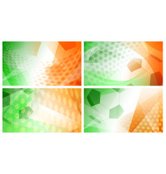 Soccer backgrounds in colors of ireland vector
