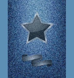 star and banner over denim texture background vector image