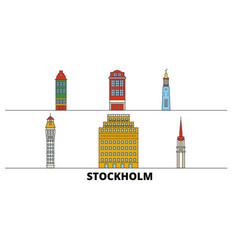 Sweden stockholm flat landmarks vector