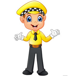 Taxi driver cartoon waving hand vector