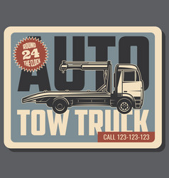 Tow truck retro card of emergency vehicle service vector
