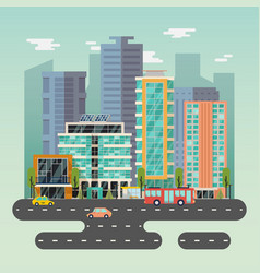 town or city with skyscrapers buildings and road vector image