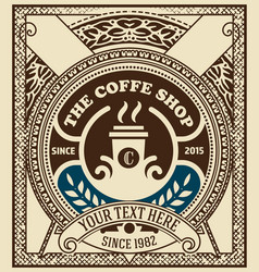 Vintage coffee cover layered vector