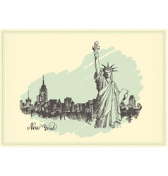 vintage postcard with sketch of the statue of vector image