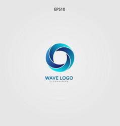 Wave logo design minimalist and elegant concept vector
