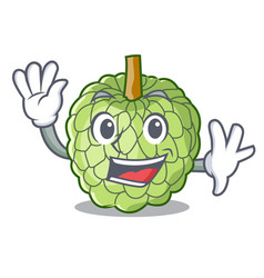 Waving character custard apple tropical fruit vector