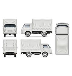 White truck mockup on white vector