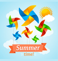 Wind mill hello summer concept card vector
