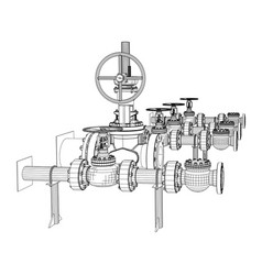 Wire-frame industrial valves vector