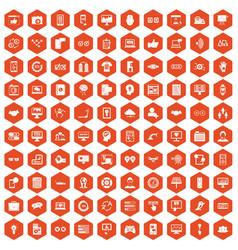 100 interface icons hexagon orange vector