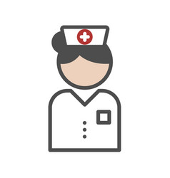 classic nurse icon with white uniform vector image