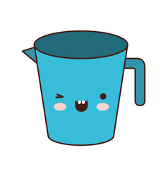 jar with handle colorful kawaii silhouette vector image