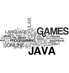 java online games text background word cloud vector image vector image
