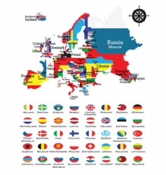 map and flags vector image