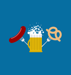 mug beer and sausage and pretzel logo for vector image