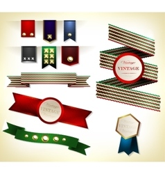 Set of retro ribbon vector image