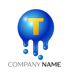 t letter splash logo blue dots and bubbles letter vector image