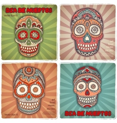 Vintage ethnic hand drawn human skull banners vector image vector image