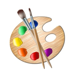 Art palette with paint brush for drawing vector image