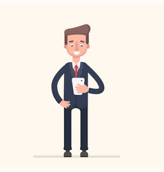 businessman with telephone vector image