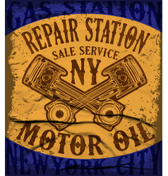 grunge retro gas station sign vector image