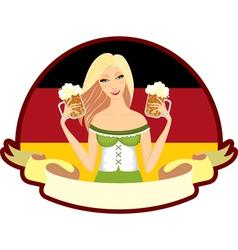 oktoberfest girl beer label vector image vector image