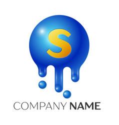 s letter splash logo blue dots and bubbles letter vector image