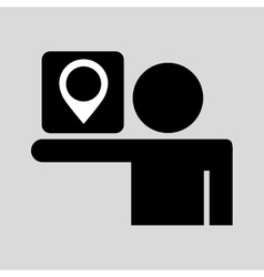 silhouette man sign pin map media design vector image vector image