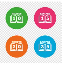 cookbook icons twenty five recipes book sign vector image