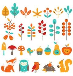 Cute autumn design elements vector image vector image