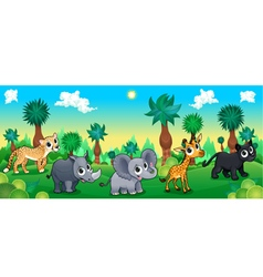 Green forest with wild animals vector image vector image
