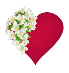 Valentines day red heart with white flowers vector