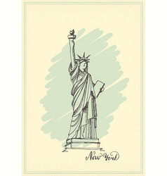 vintage postcard with a sketch of the statue of vector image vector image