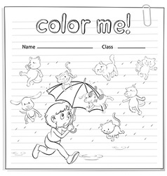 A worksheet showing a rain with cats and dogs vector image vector image