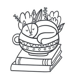 Adorable sleepy kitten books and plants vector