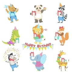 Humanized Animal Characters Attending Birthday vector image