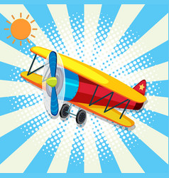 red plane flying on bright sky vector image